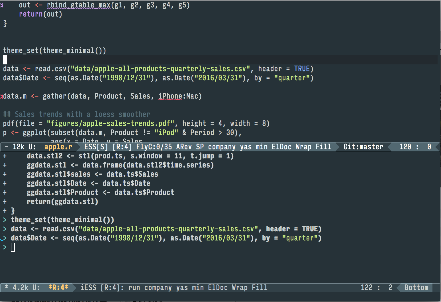 Working with R in Emacs using ESS. A document containing R code is open in the top half of the screen. Below the divider, an R session is running, also inside Emacs. Code from the top pane is sent to the bottom with a keyboard shortcut, where it is evaluated by R. We can also jump down to the bottom pane and do work there. Small details like a lint checker, active line highlighting, and revision-control information are also visible.