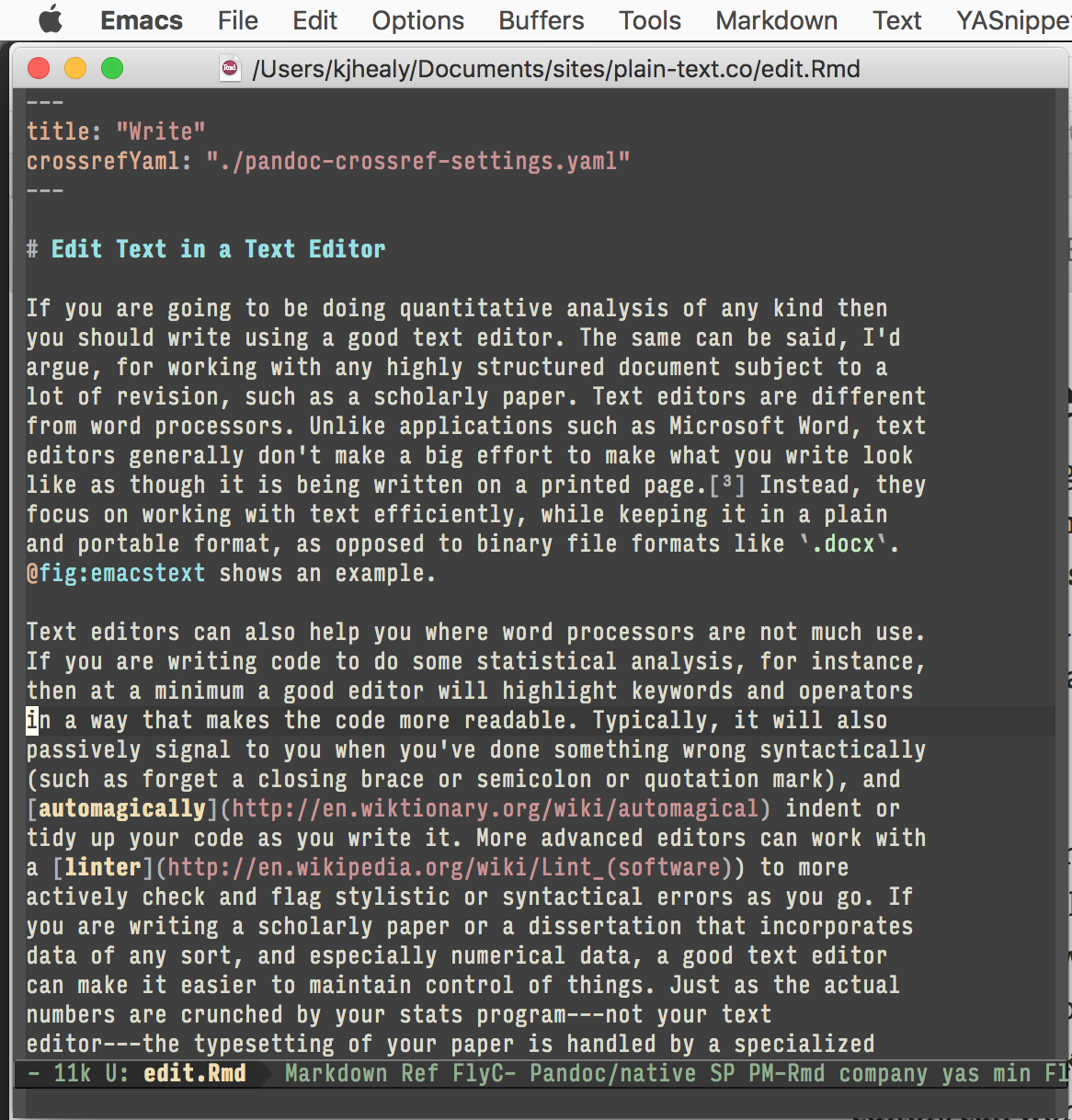 Figure 1: Working on part of this document in Emacs.